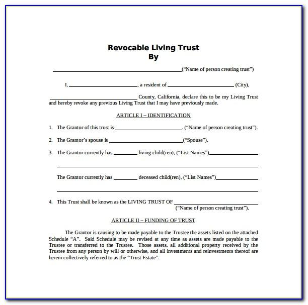 Revocable Living Trust Samples