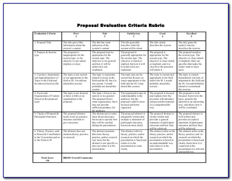 Rfp Evaluation Criteria Example