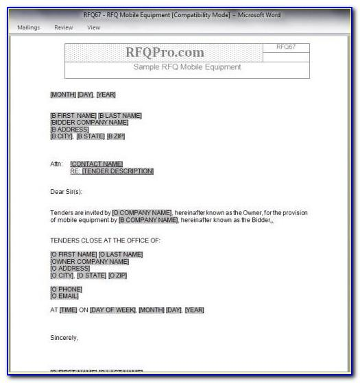 Rfp Template Word Free Download