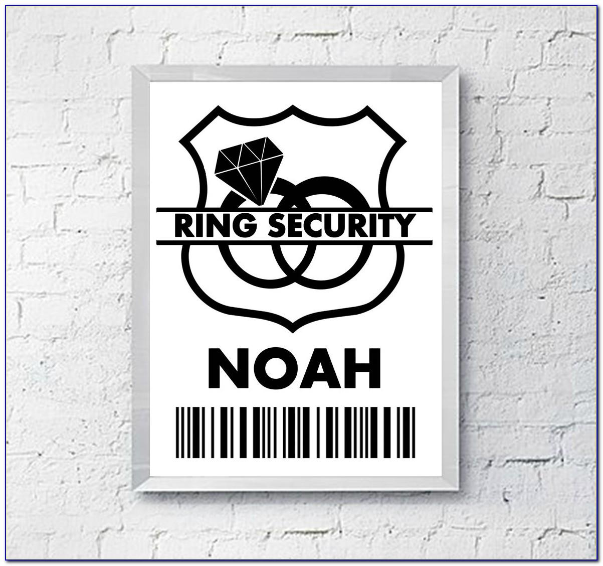 Ring Bearer Security Badge Template