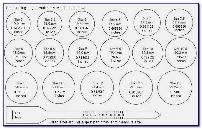 Ring Size Chart Printable Uk