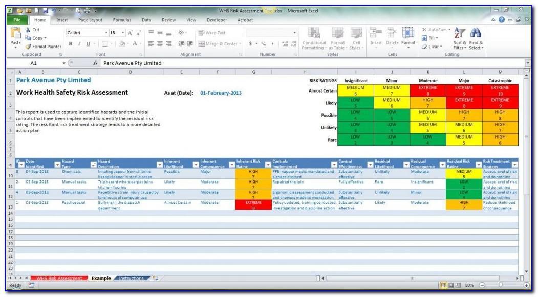 Risk Assessment Example Xls
