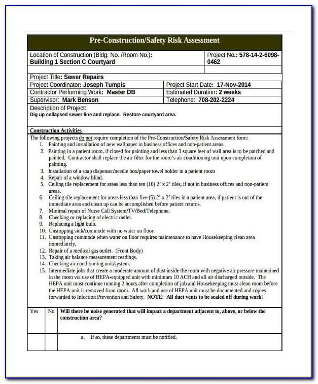 Risk Assessment Template For Childminders Outings