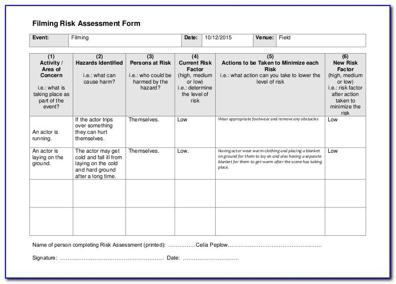 Risk Assessment Templates Hse