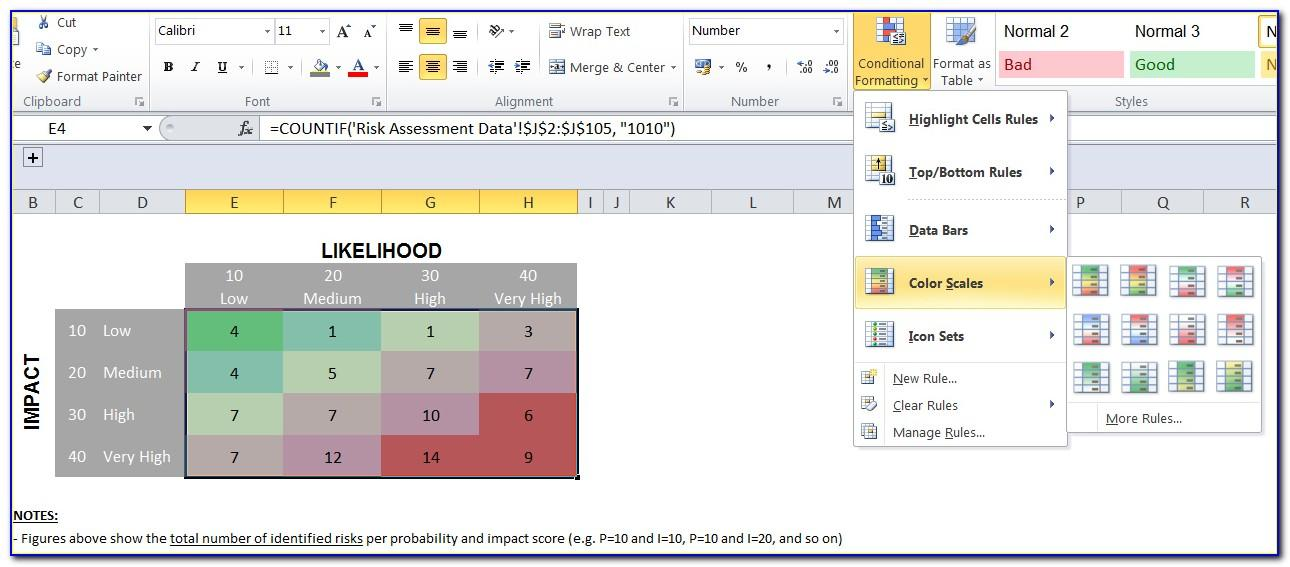 Risk Heat Map Excel Template Download