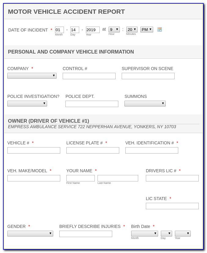 Road Traffic Accident Report Template