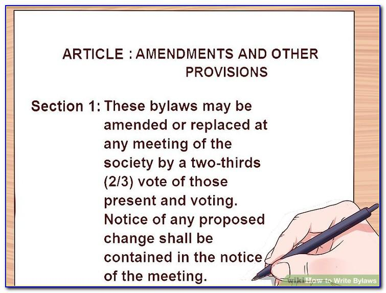 Robert's Rules Of Order Bylaws Template