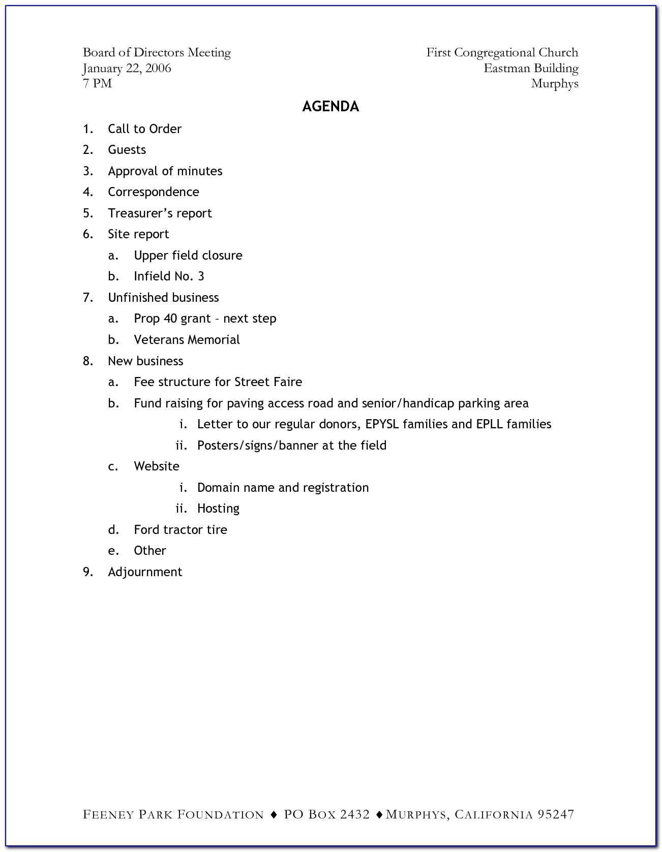 Robert's Rules Of Order Meeting Agenda Format