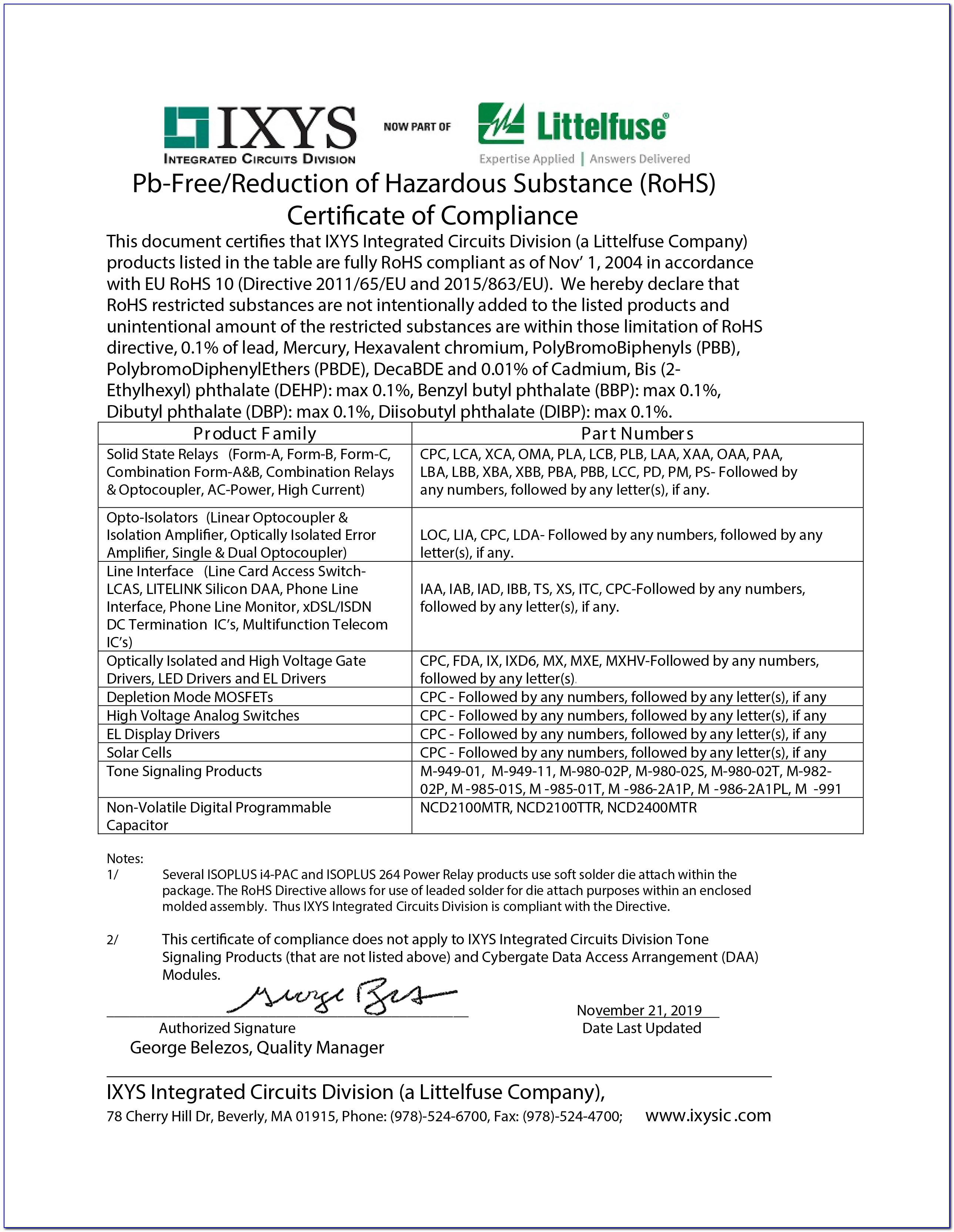 Rohs Certificate Of Compliance Sample