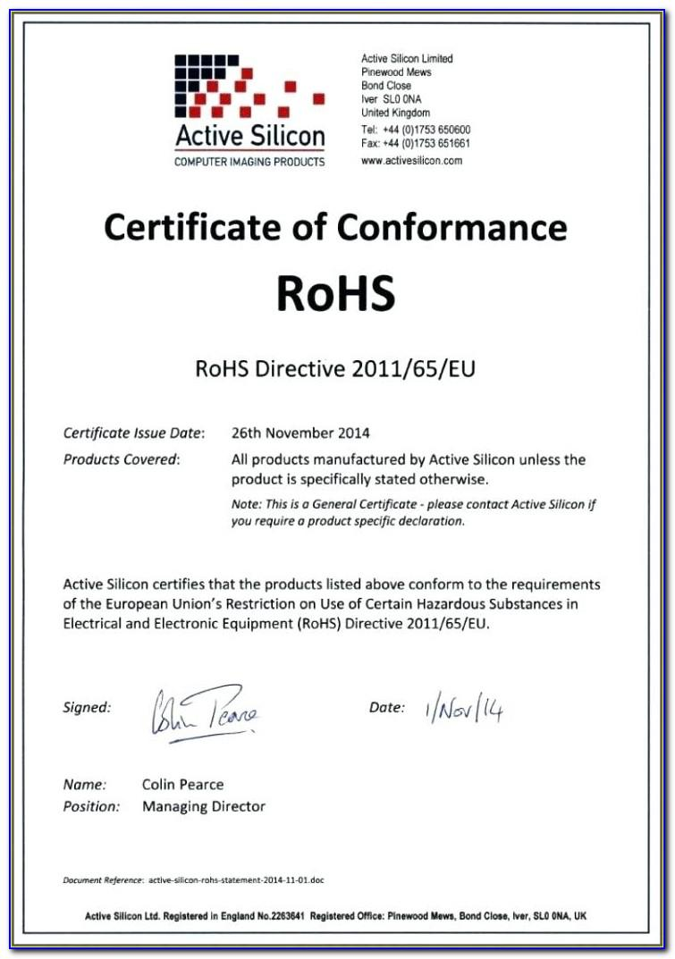 Rohs Certificate Of Compliance Template