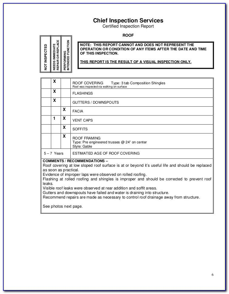 Roof Certification Form Template