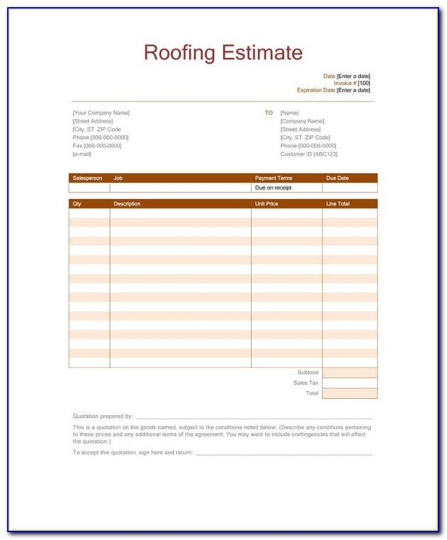 Roof Estimate Excel Template