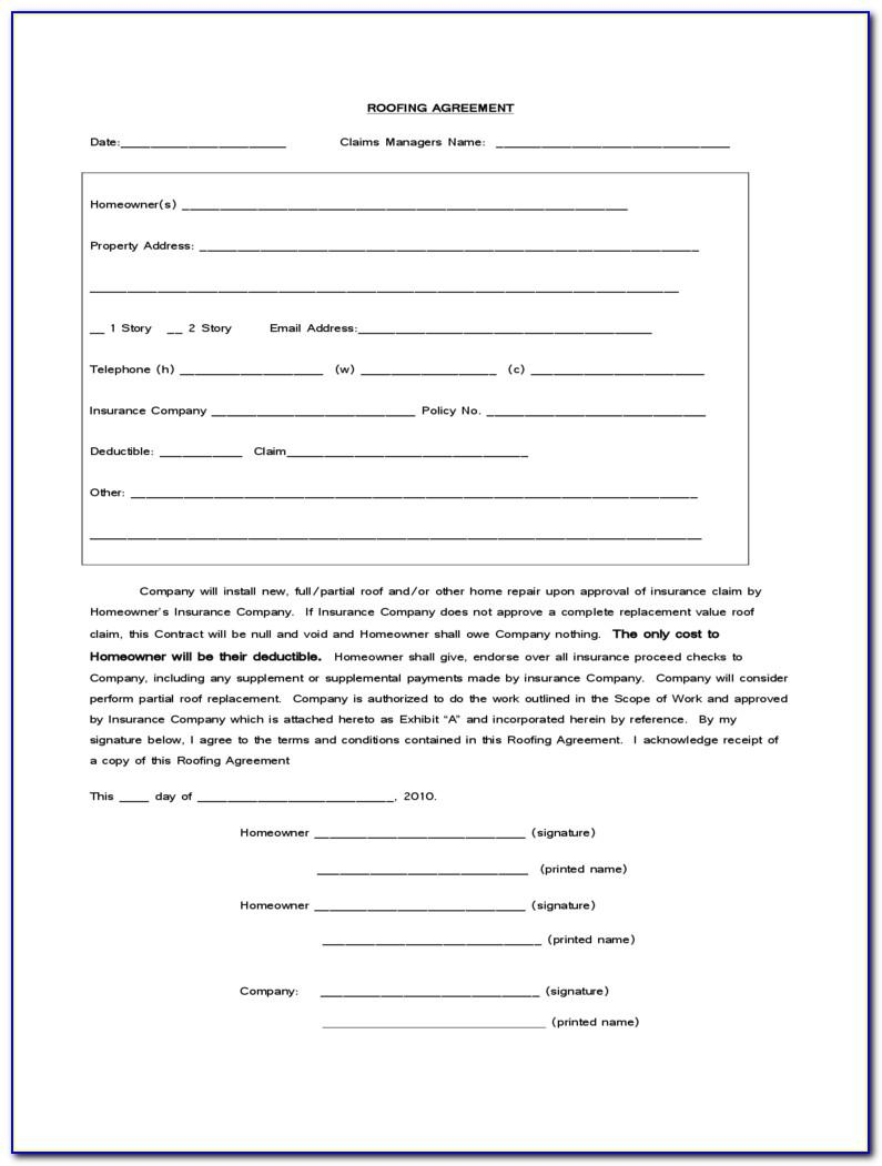 Roofing Contracts Templates Free