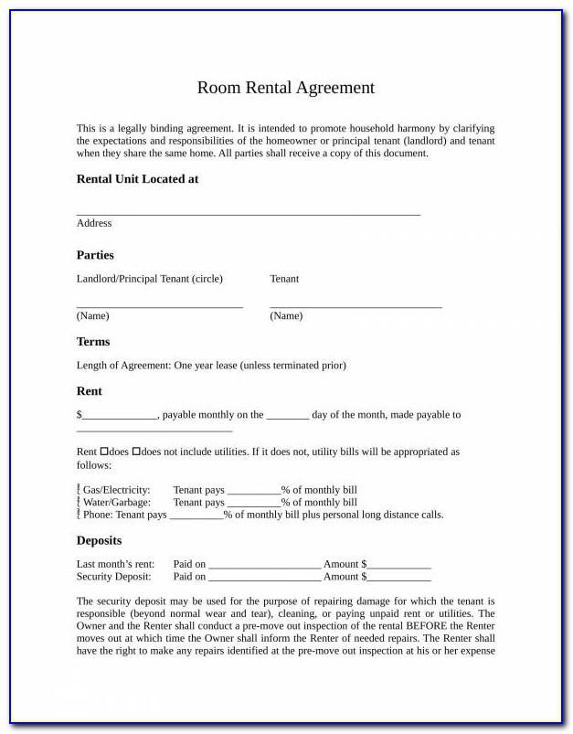 Room Rental Agreement Form Uk