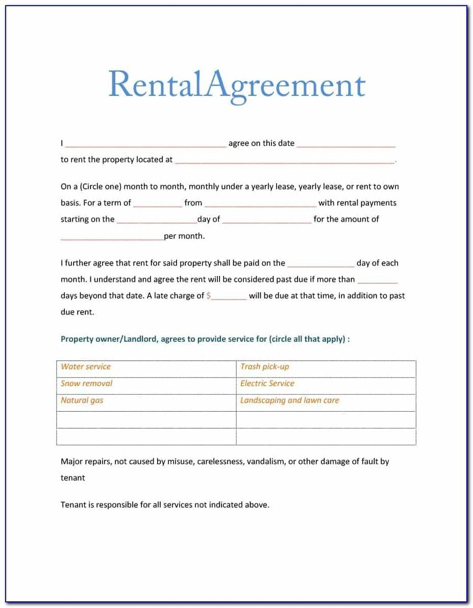 Room Rental Agreement Template California