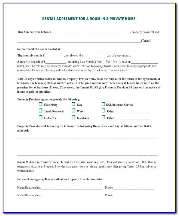 Room Rental Contract Form