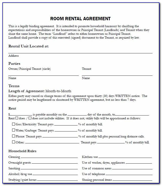 Room Renting Agreement Template