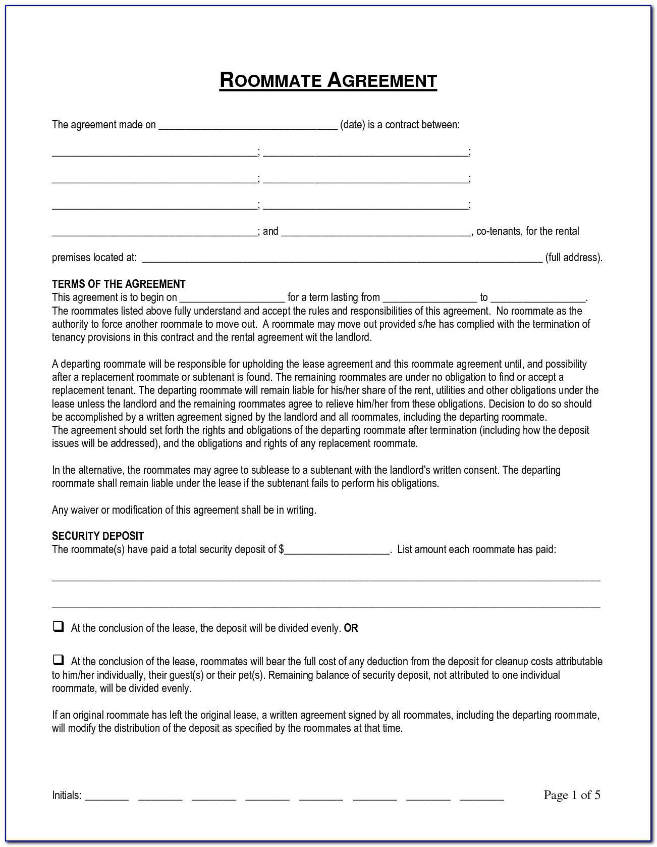 Roommate Agreement Template Australia