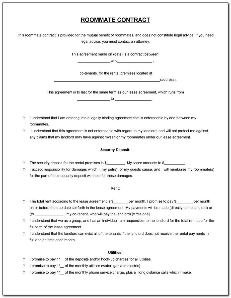 Roommate Agreement Template Word