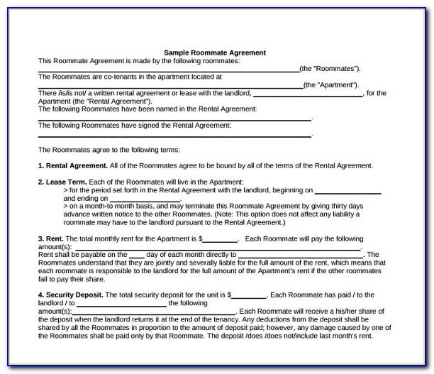 Roommate Lease Agreement Florida