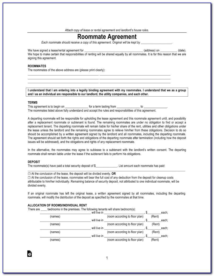Roommate Lease Agreement Virginia