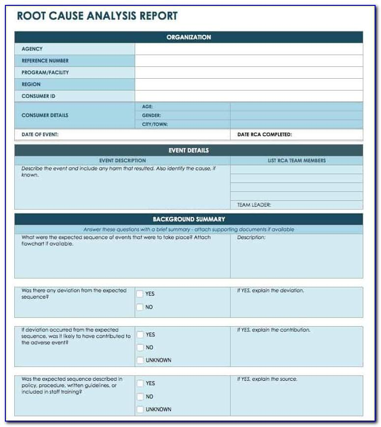 Root Cause Analysis Sample Template