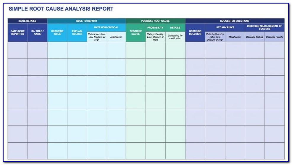 Root Cause Analysis Template Excel Download