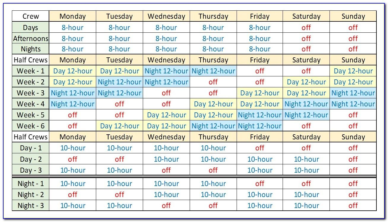 Rotating Shift Work Schedules Examples