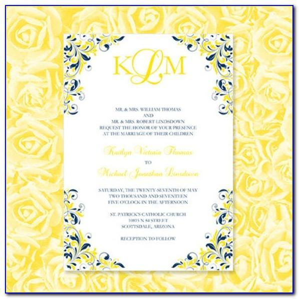Royal Blue And Pink Wedding Invitation Design