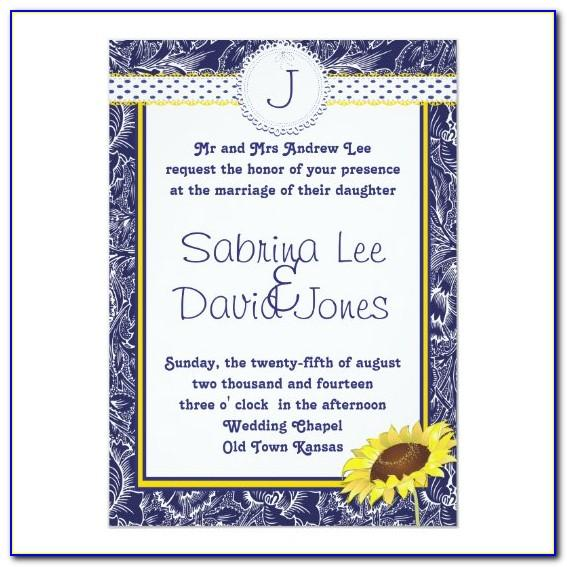 Royal Blue And White Wedding Invitation Templates