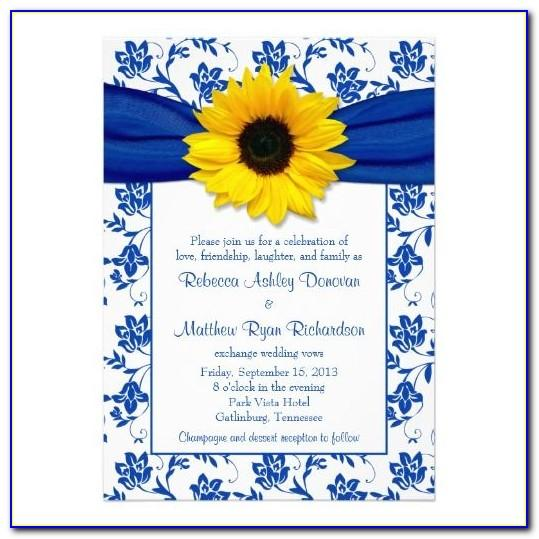 Royal Blue And Yellow Wedding Invitation Cards