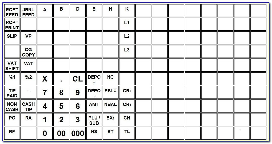Royal Cash Register Keyboard Template