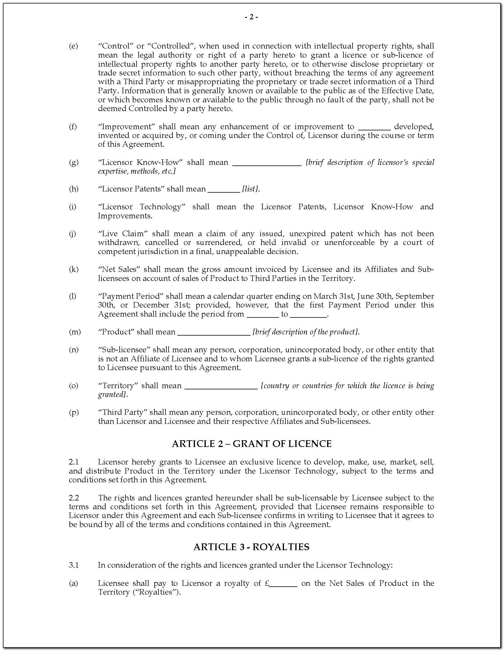 Royalty Agreement Template Australia