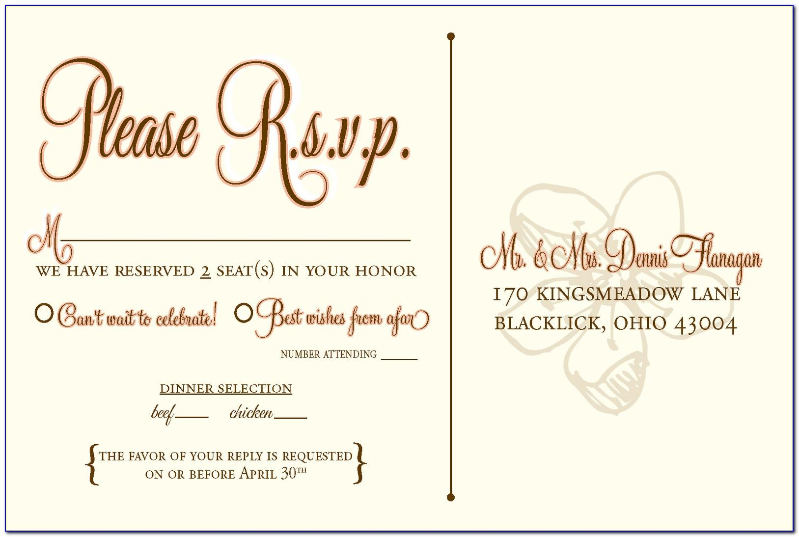 Rsvp Wedding Template Wording