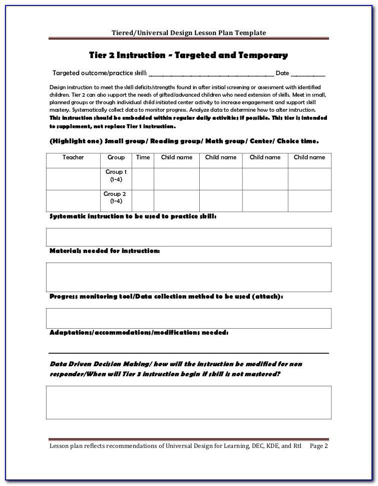 Rti Lesson Plan Form