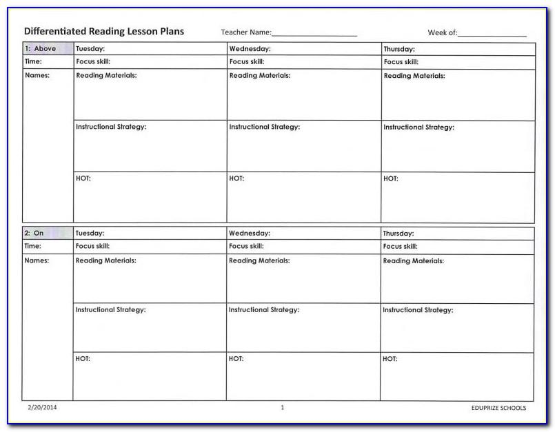 Rti Lesson Plan Template Pdf