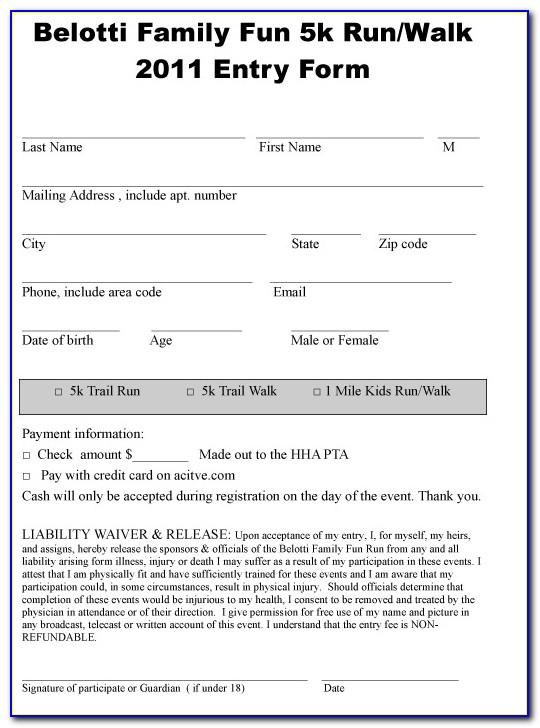 Running Race Entry Form Template