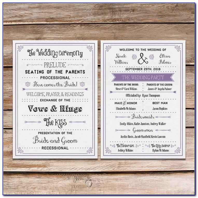Rustic Wedding Menu Template Free