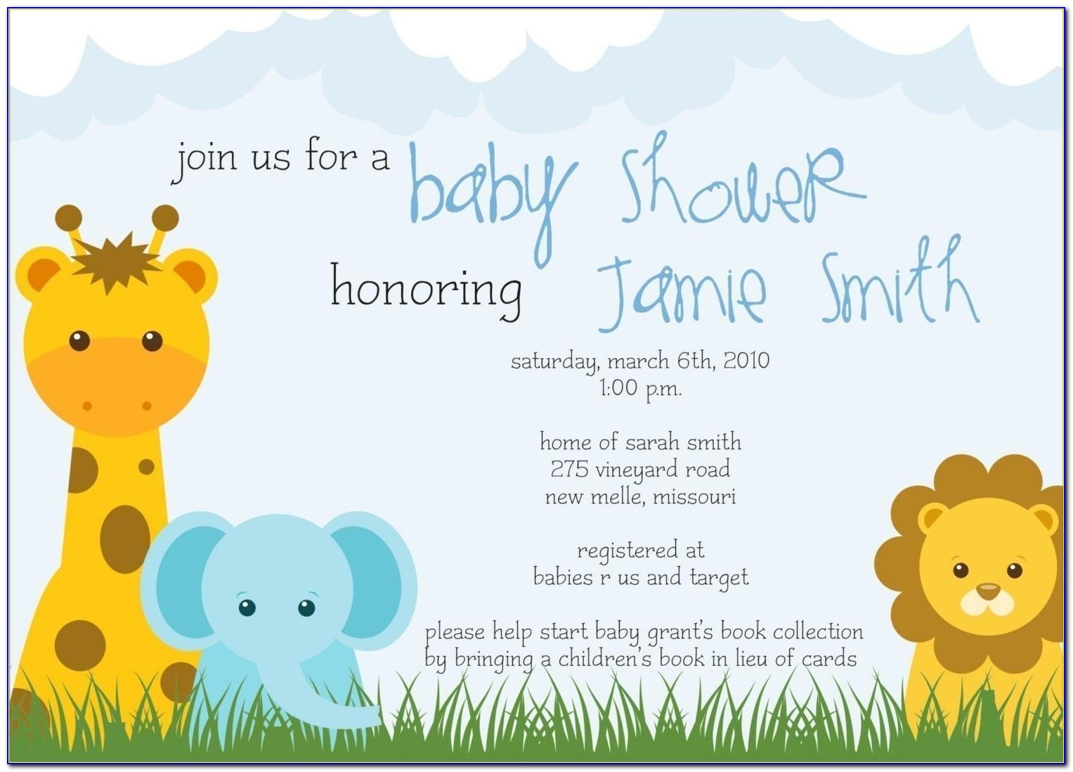 Safari Theme Baby Shower Invitation Templates