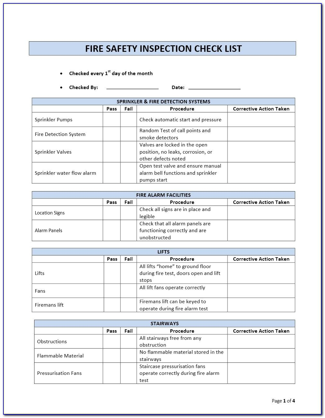 Safety Harness Inspection Checklist Template
