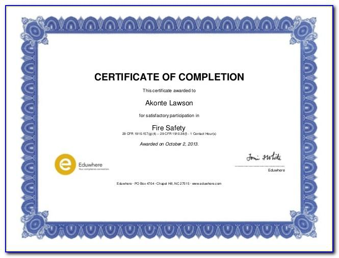 Safety Training Certificate Sample