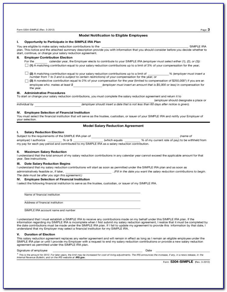Salary Reduction Agreement Form Simple Ira
