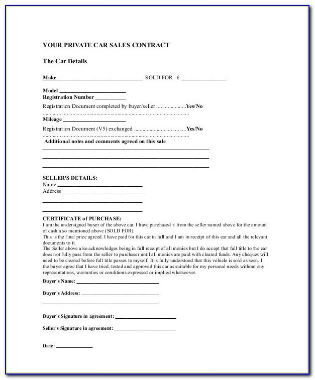 Sale Agreement Format For Used Car