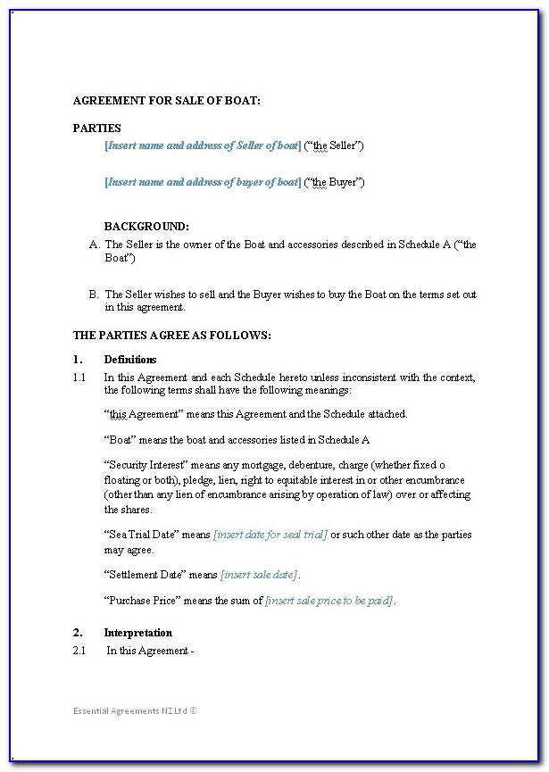 Sale And Purchase Agreement Nz Sample