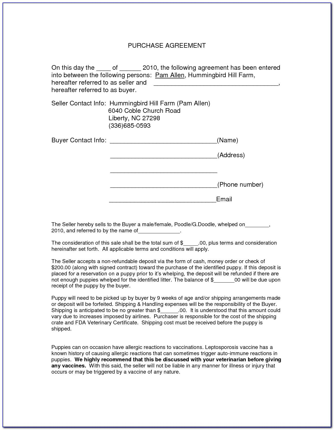 Sale Contract Template For Real Estate