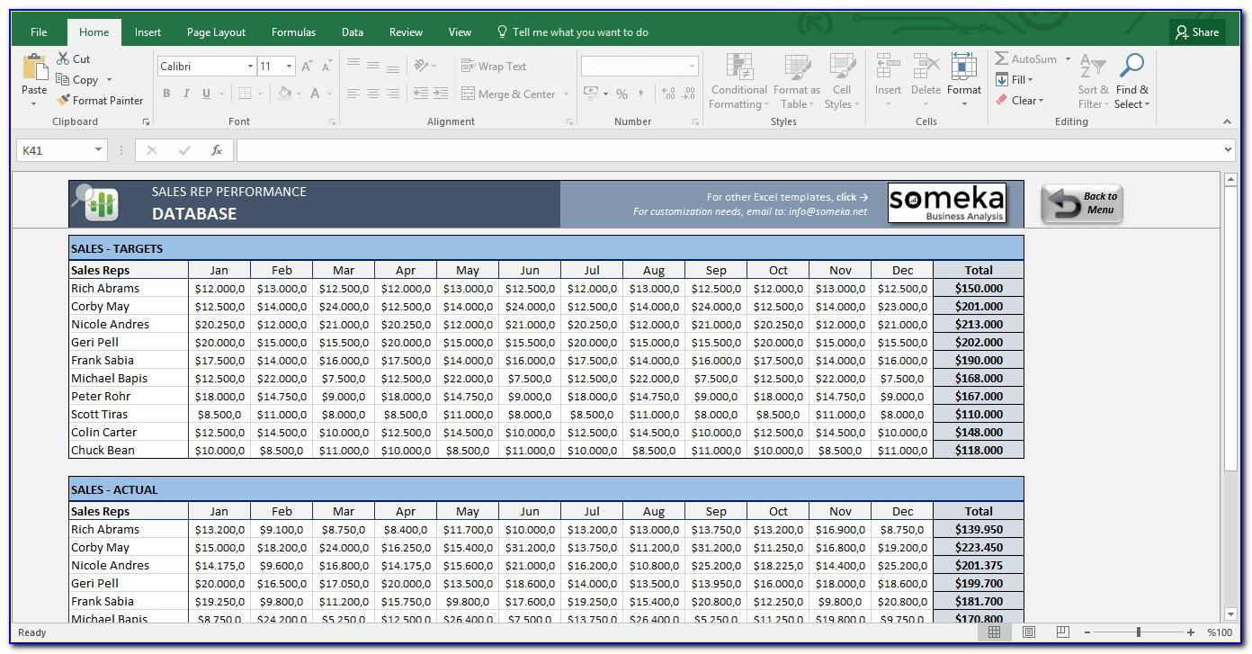 Sales Activity Tracking Excel Spreadsheet