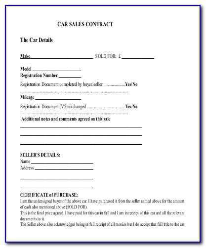 Sales Agreement Car Template