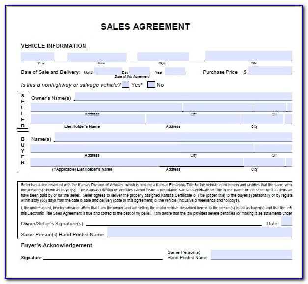 Sales Agreement For Real Estate Pa