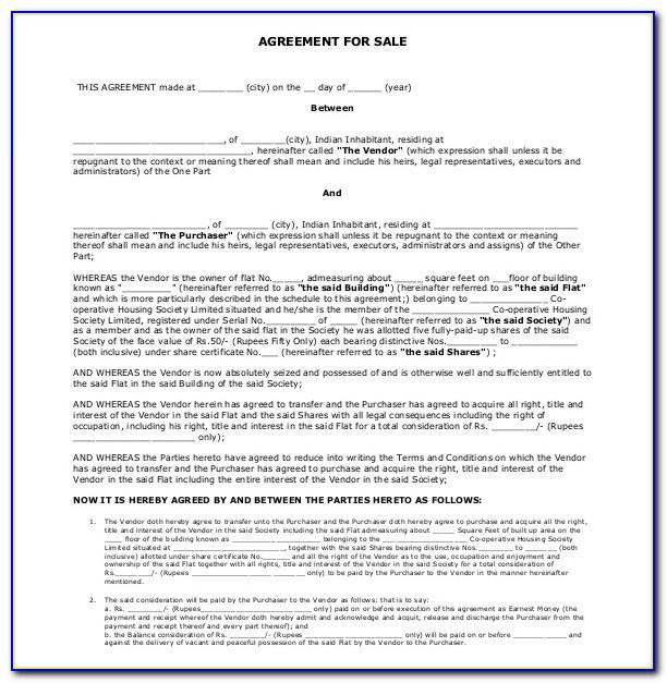 Sales Agreement Form For Real Estate