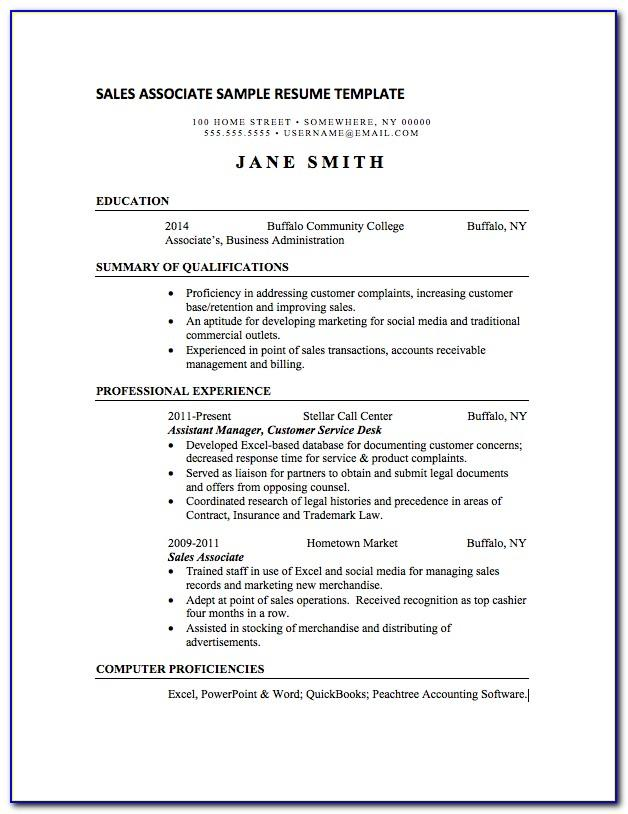 Sales Associate Resume Sample Canada